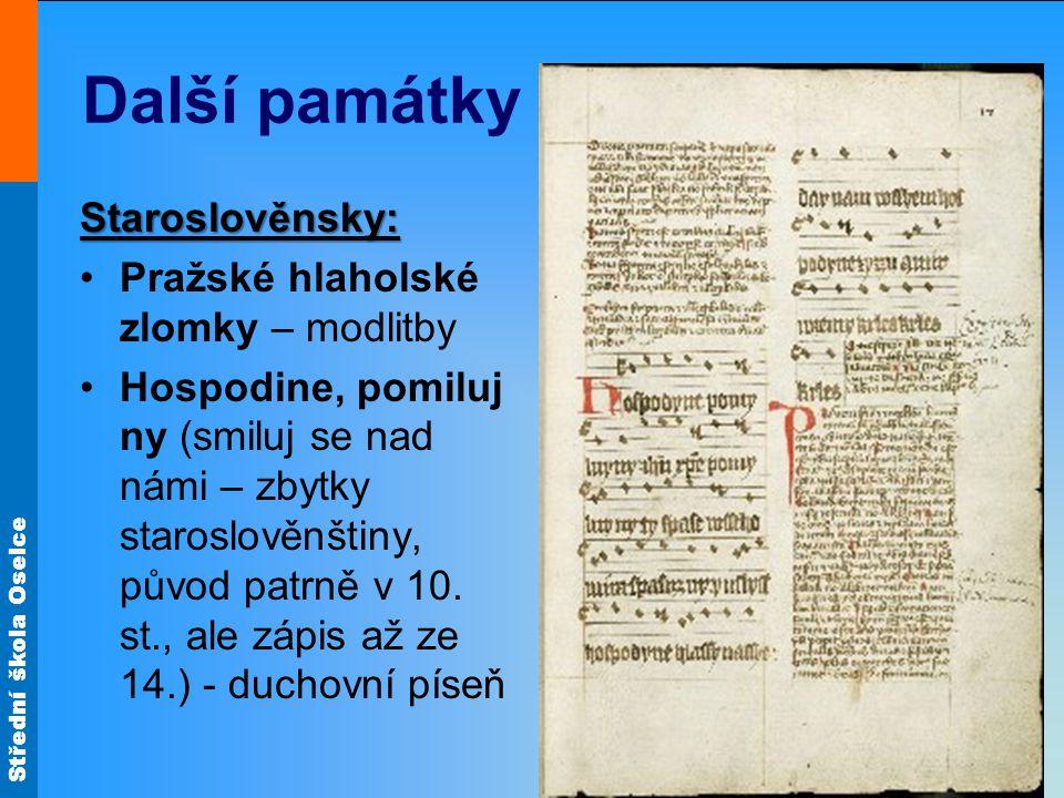 Další památky Staroslověnsky: Pražské hlaholské zlomky – modlitby