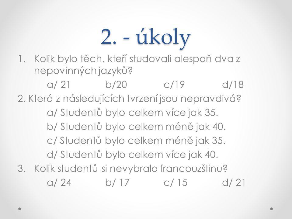 2. - úkoly Kolik bylo těch, kteří studovali alespoň dva z nepovinných jazyků a/ 21 b/20 c/19 d/18.