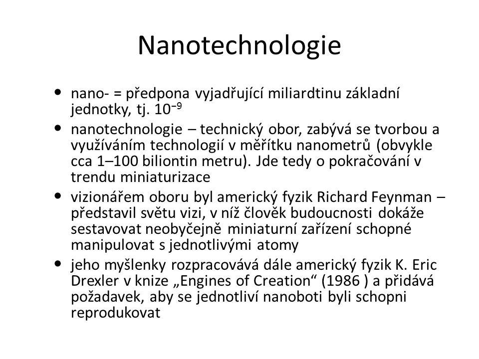 Nanotechnologie nano- = předpona vyjadřující miliardtinu základní jednotky, tj. 10−9.