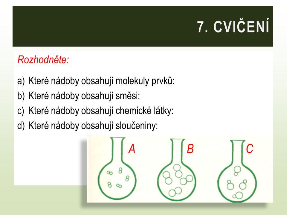 7. CVIČENÍ A B C Rozhodněte: Které nádoby obsahují molekuly prvků: