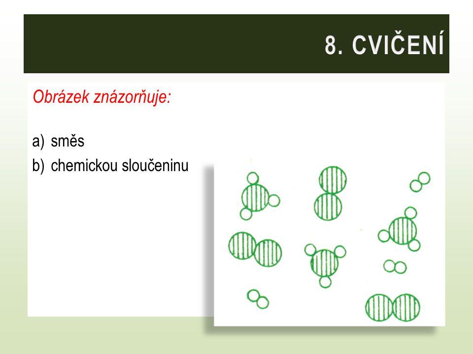 8. CVIČENÍ Obrázek znázorňuje: směs chemickou sloučeninu