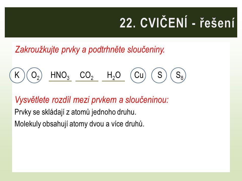 22. CVIČENÍ - řešení Zakroužkujte prvky a podtrhněte sloučeniny.