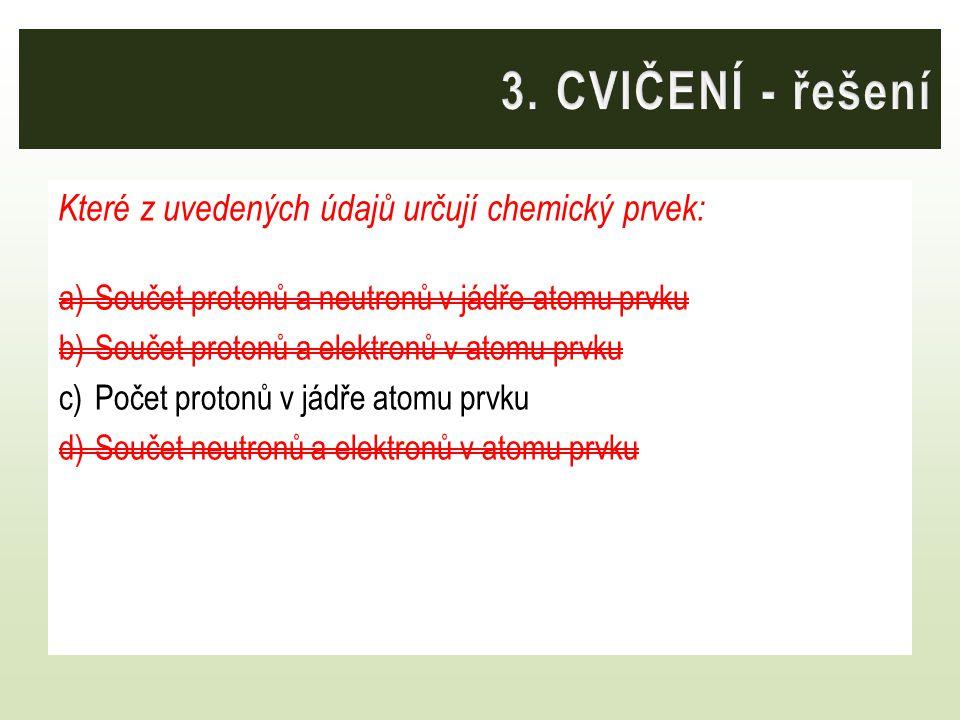 3. CVIČENÍ - řešení Které z uvedených údajů určují chemický prvek: