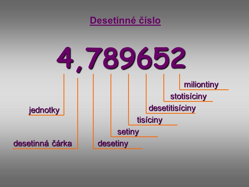 4,789652 Desetinné číslo jednotky desetiny setiny tisíciny