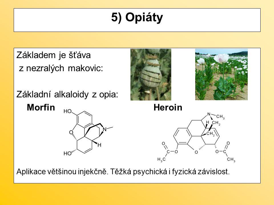 5) Opiáty Základem je šťáva z nezralých makovic: