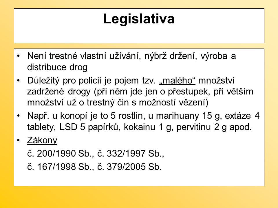 Legislativa Není trestné vlastní užívání, nýbrž držení, výroba a distribuce drog.