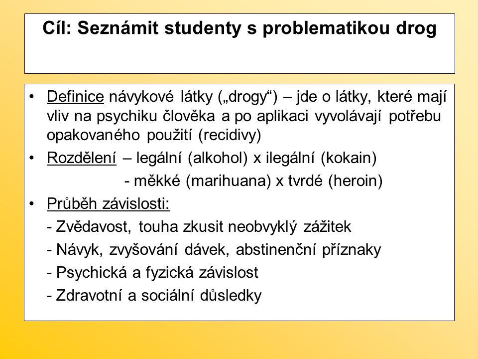 Cíl: Seznámit studenty s problematikou drog