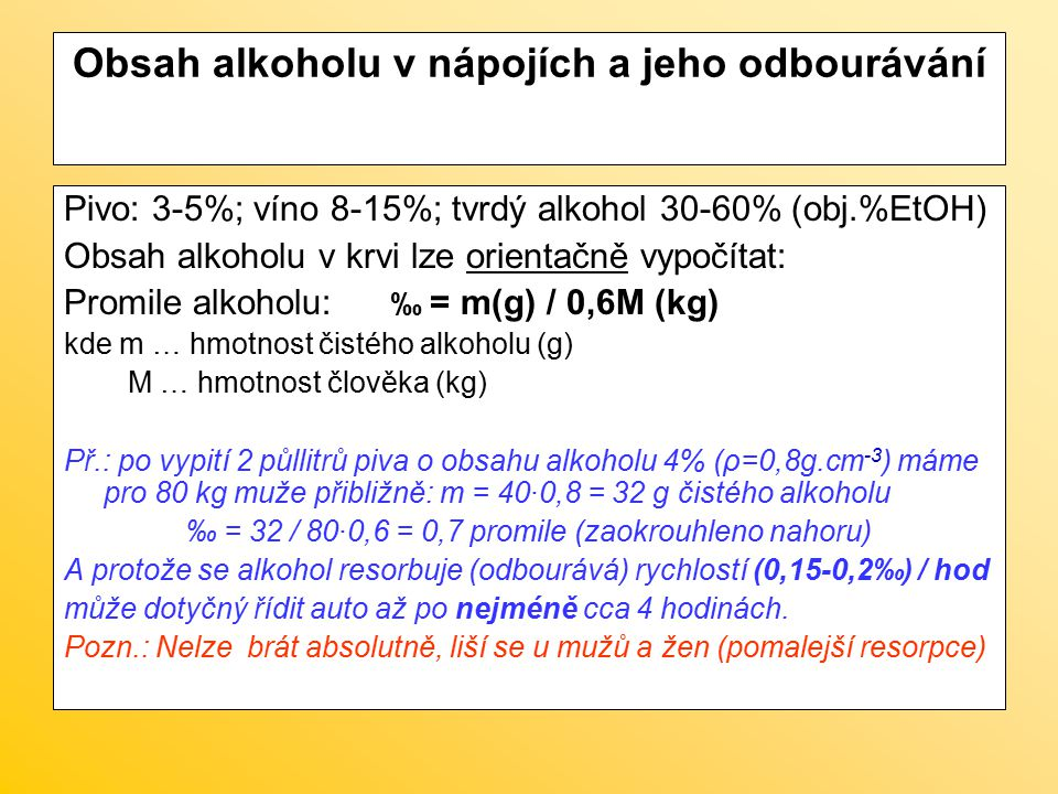 Obsah alkoholu v nápojích a jeho odbourávání
