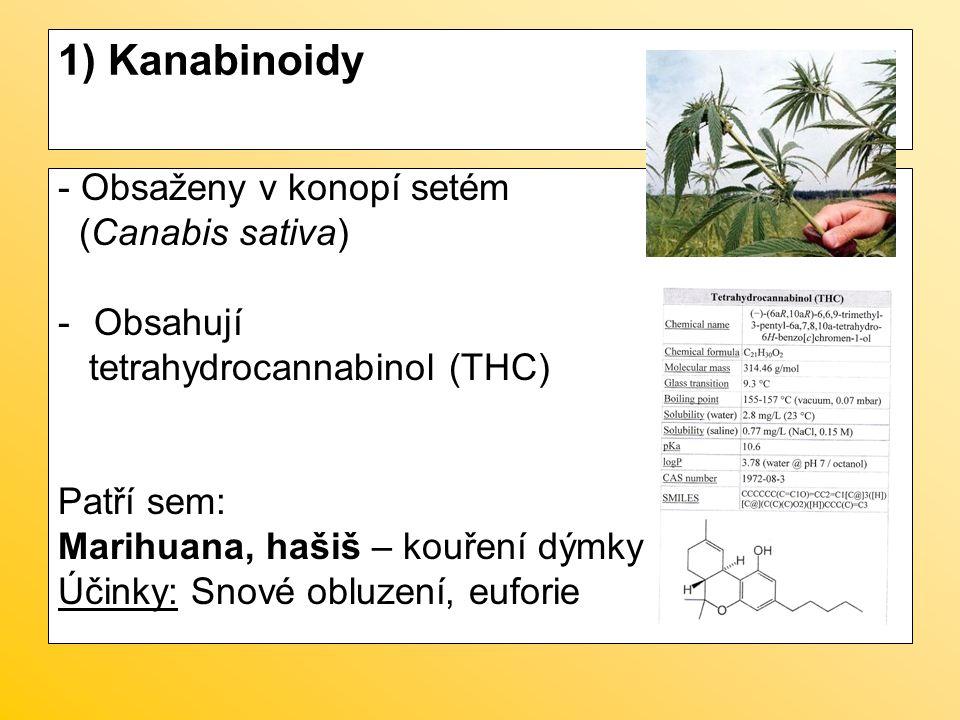 1) Kanabinoidy - Obsaženy v konopí setém (Canabis sativa) Obsahují
