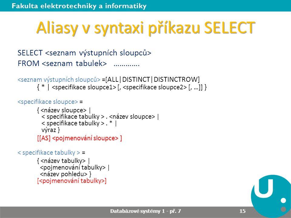 Aliasy v syntaxi příkazu SELECT