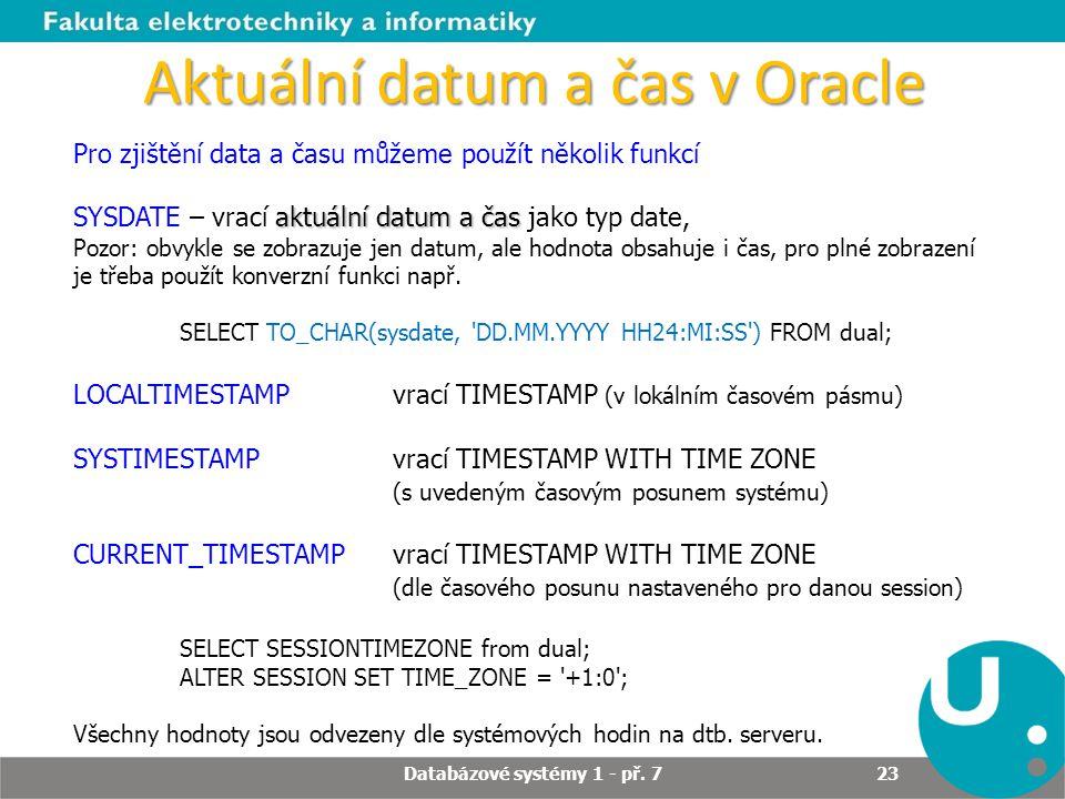 Aktuální datum a čas v Oracle