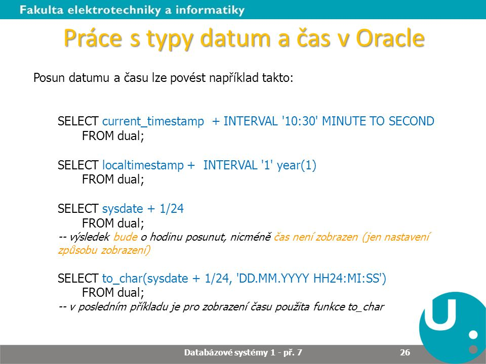 Práce s typy datum a čas v Oracle