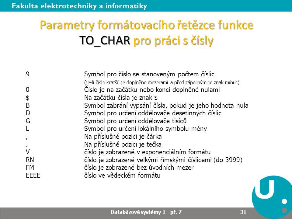 Parametry formátovacího řetězce funkce TO_CHAR pro práci s čísly