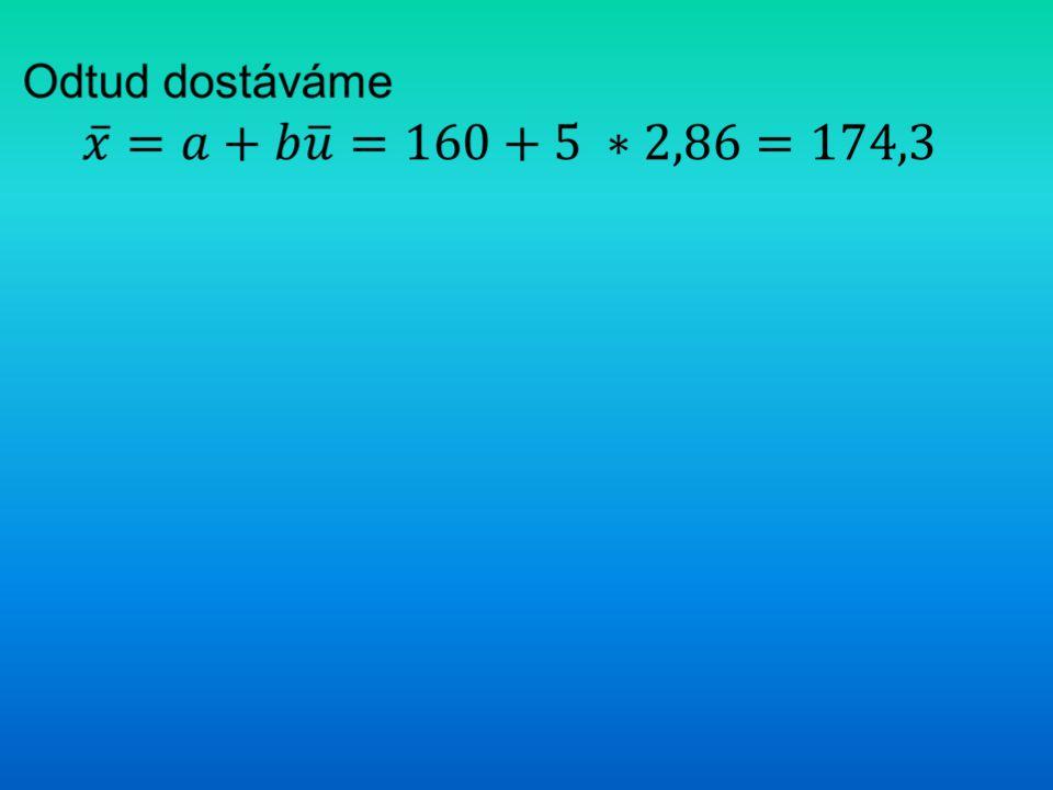 Odtud dostáváme 𝑥 ̅ = a + b𝑢 ̅=160+5∗2,86=174,3
