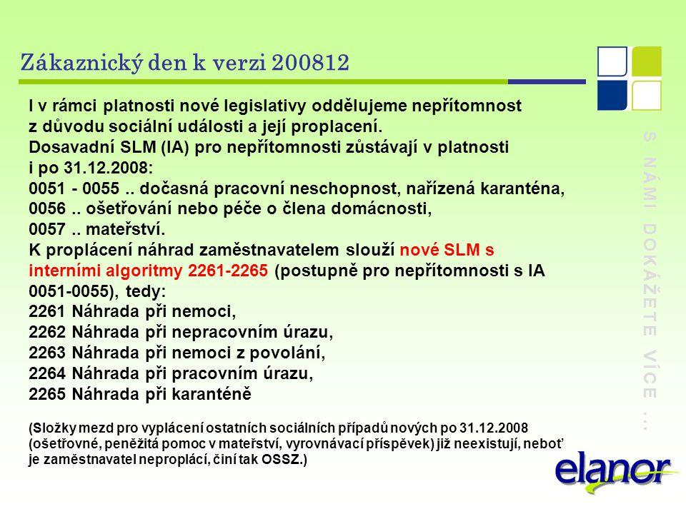 Zákaznický den k verzi 200812 I v rámci platnosti nové legislativy oddělujeme nepřítomnost. z důvodu sociální události a její proplacení.