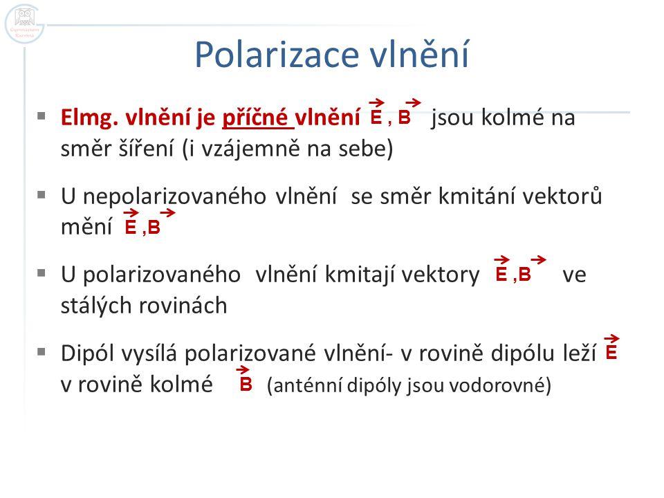 Polarizace vlnění Elmg. vlnění je příčné vlnění jsou kolmé na směr šíření (i vzájemně na sebe)