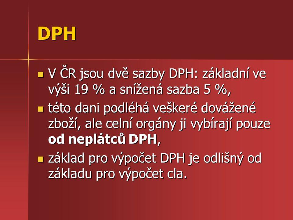 DPH V ČR jsou dvě sazby DPH: základní ve výši 19 % a snížená sazba 5 %,