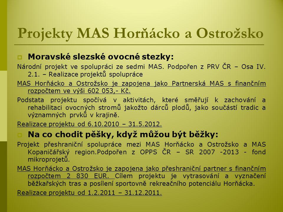 Projekty MAS Horňácko a Ostrožsko