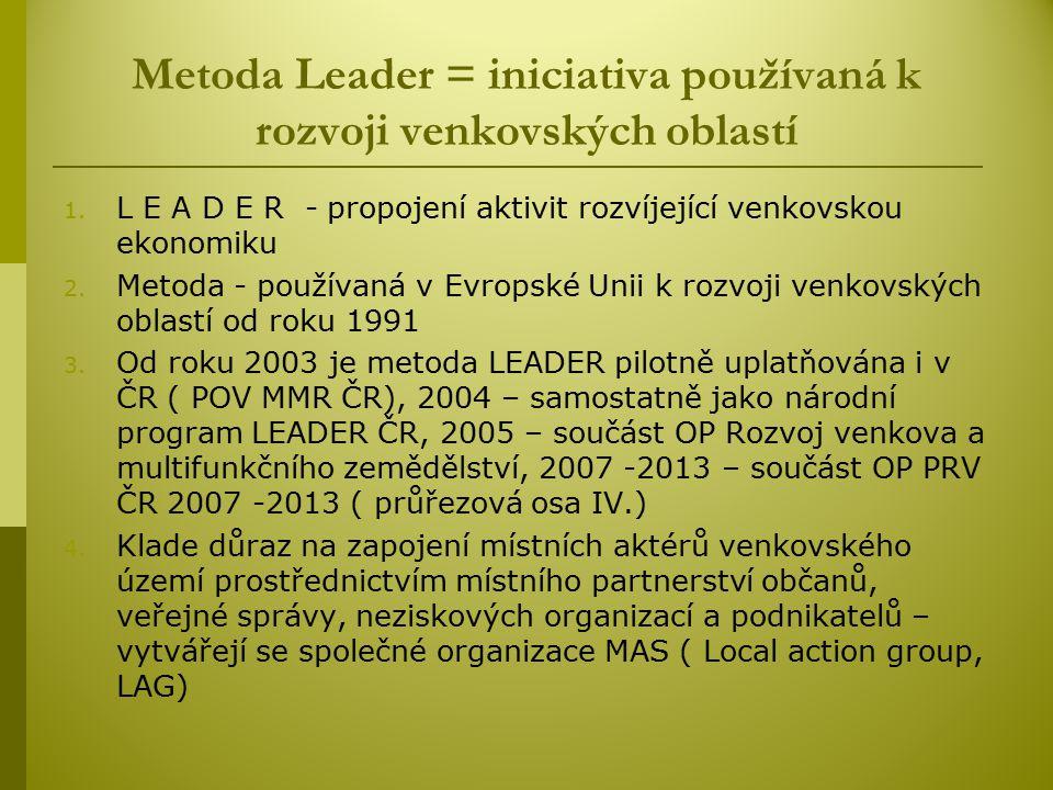 Metoda Leader = iniciativa používaná k rozvoji venkovských oblastí
