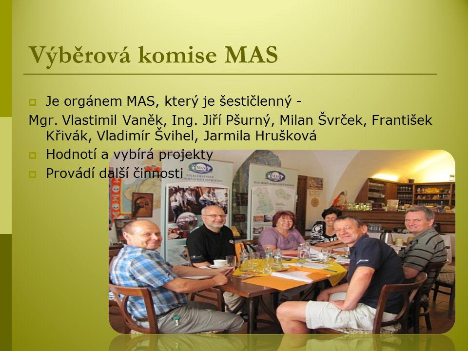 Výběrová komise MAS Je orgánem MAS, který je šestičlenný -