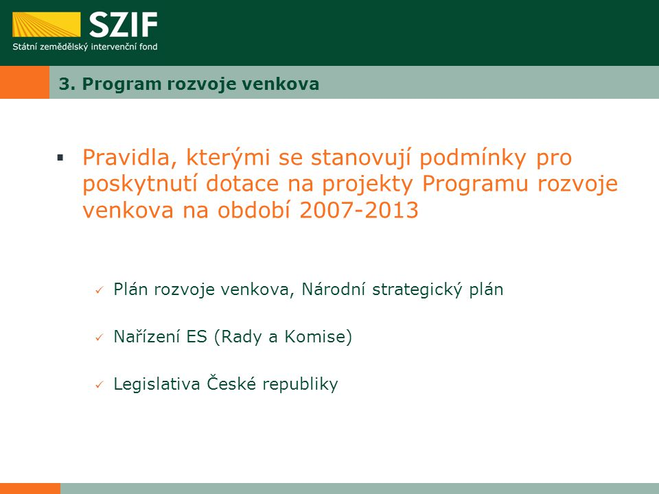 3. Program rozvoje venkova