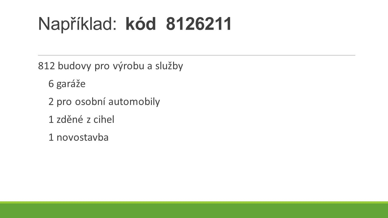 Například: kód 8126211 812 budovy pro výrobu a služby 6 garáže
