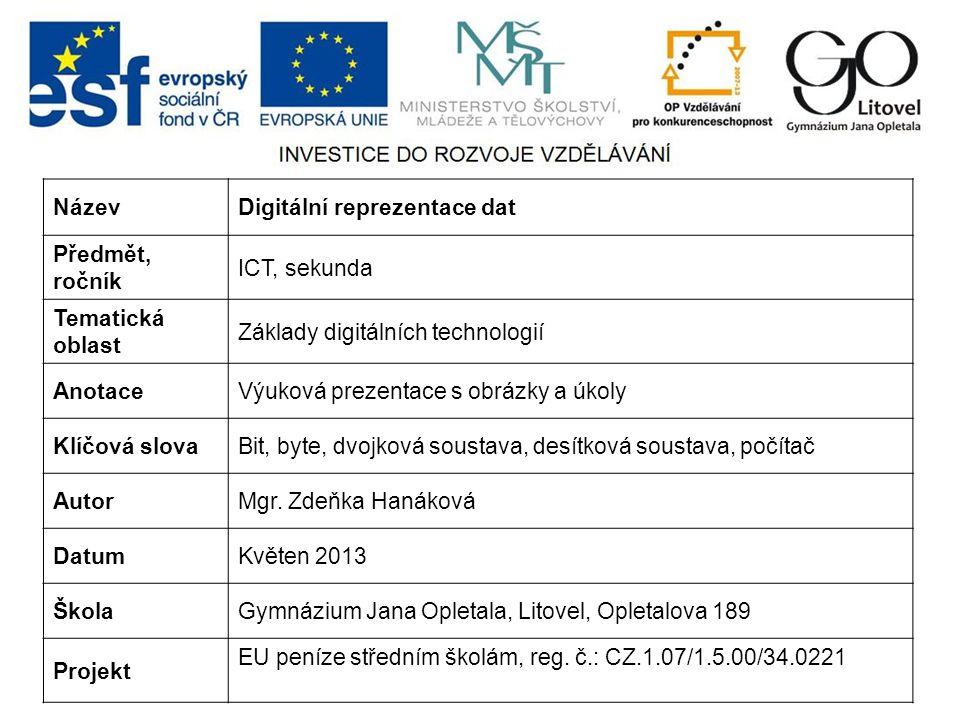 Název Digitální reprezentace dat. Předmět, ročník. ICT, sekunda. Tematická oblast. Základy digitálních technologií.