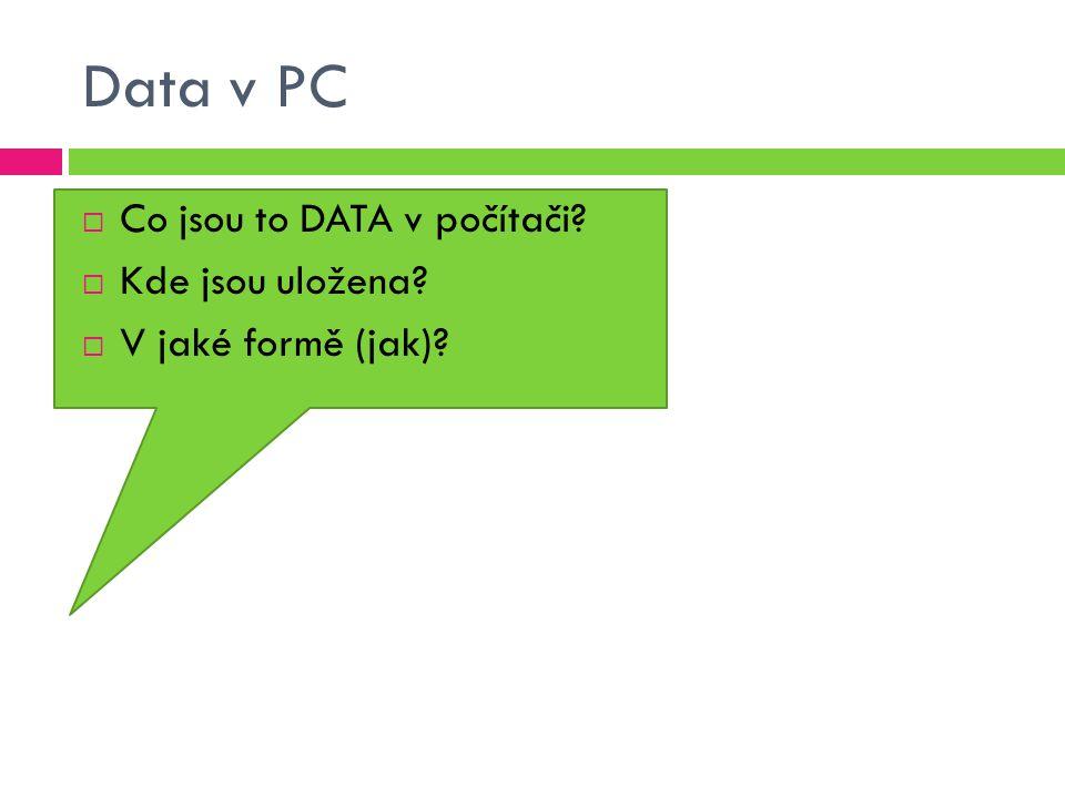 Data v PC Co jsou to DATA v počítači Kde jsou uložena