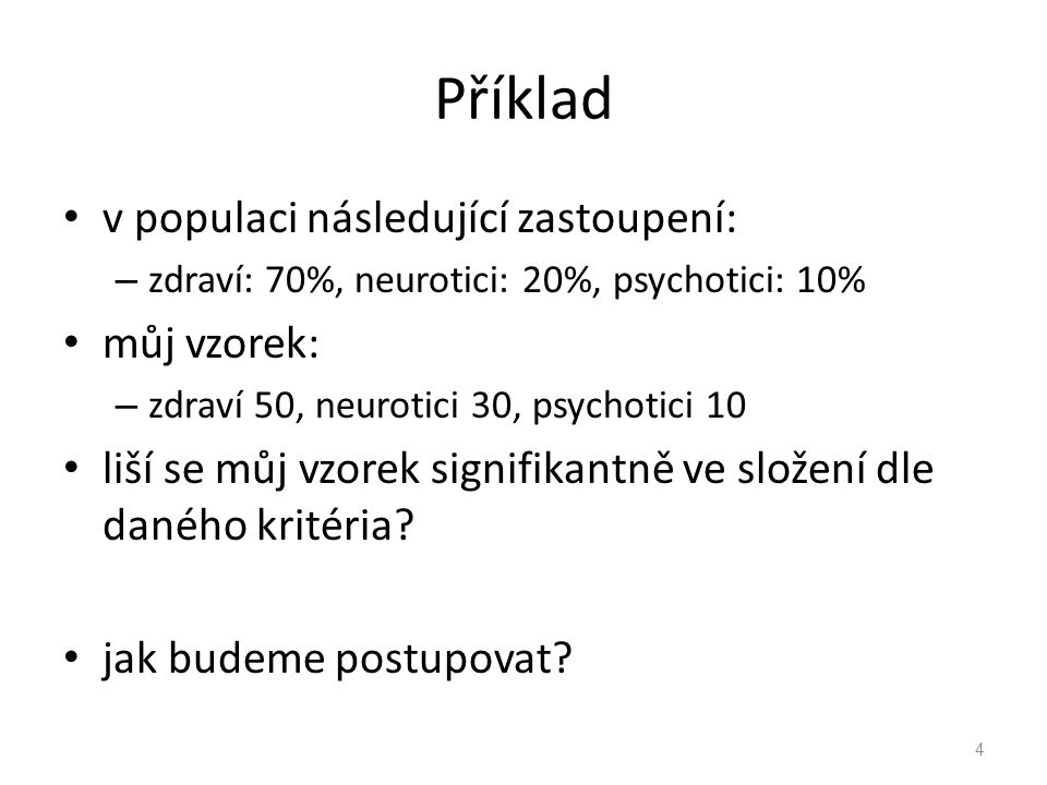Příklad v populaci následující zastoupení: můj vzorek:
