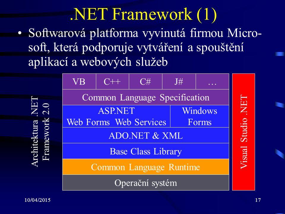 .NET Framework (1) Softwarová platforma vyvinutá firmou Micro-soft, která podporuje vytváření a spouštění aplikací a webových služeb.