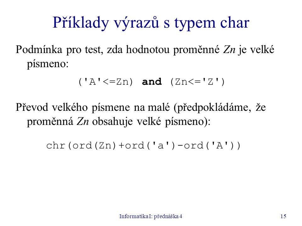 Příklady výrazů s typem char
