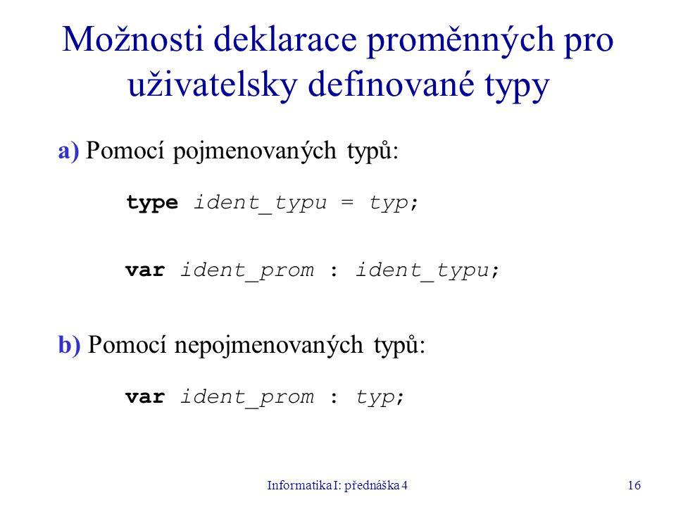 Možnosti deklarace proměnných pro uživatelsky definované typy