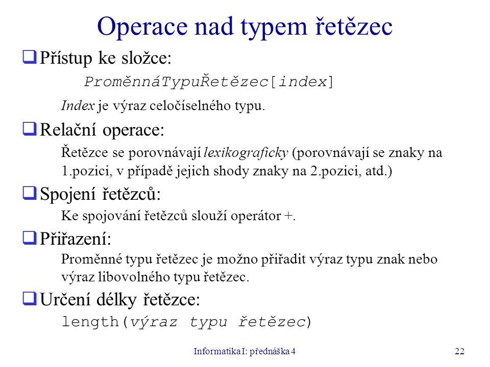 Operace nad typem řetězec