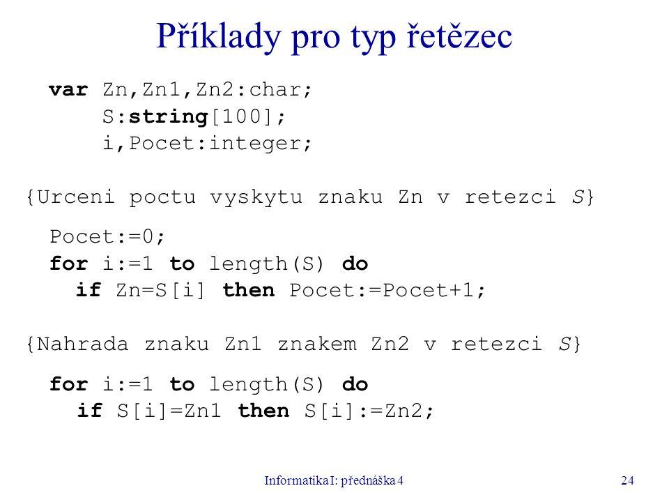 Příklady pro typ řetězec