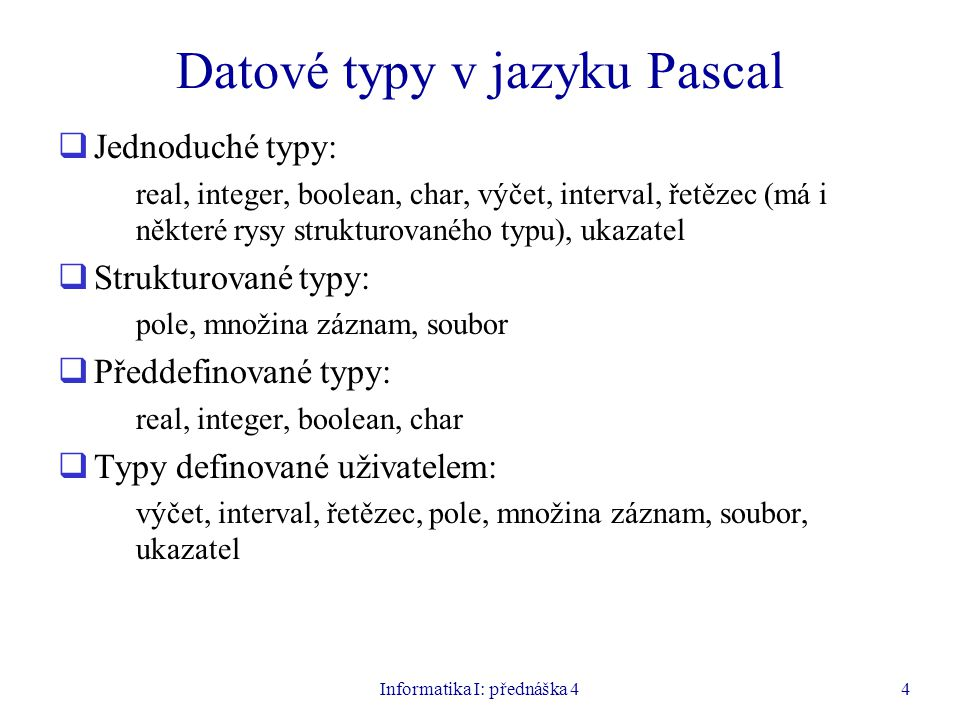 Datové typy v jazyku Pascal