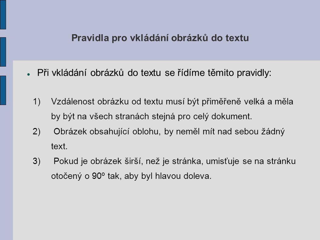 Pravidla pro vkládání obrázků do textu
