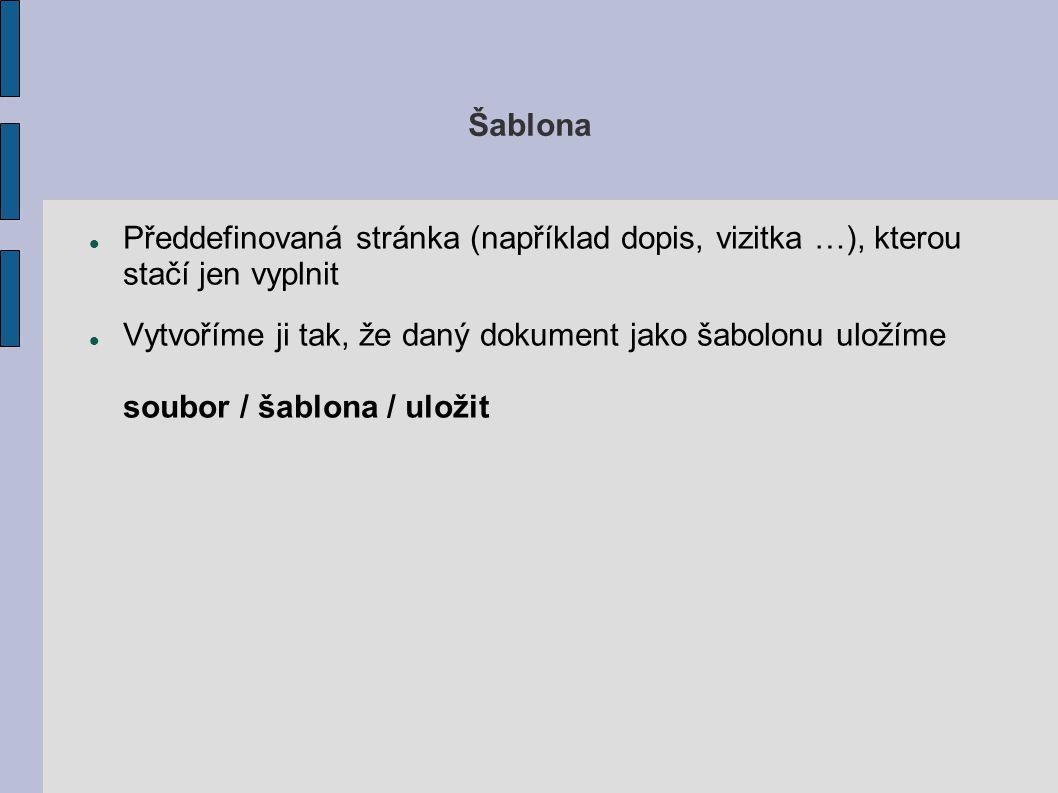 Šablona Předdefinovaná stránka (například dopis, vizitka …), kterou stačí jen vyplnit.