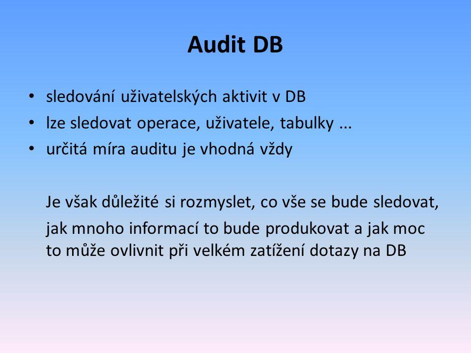 Audit DB sledování uživatelských aktivit v DB