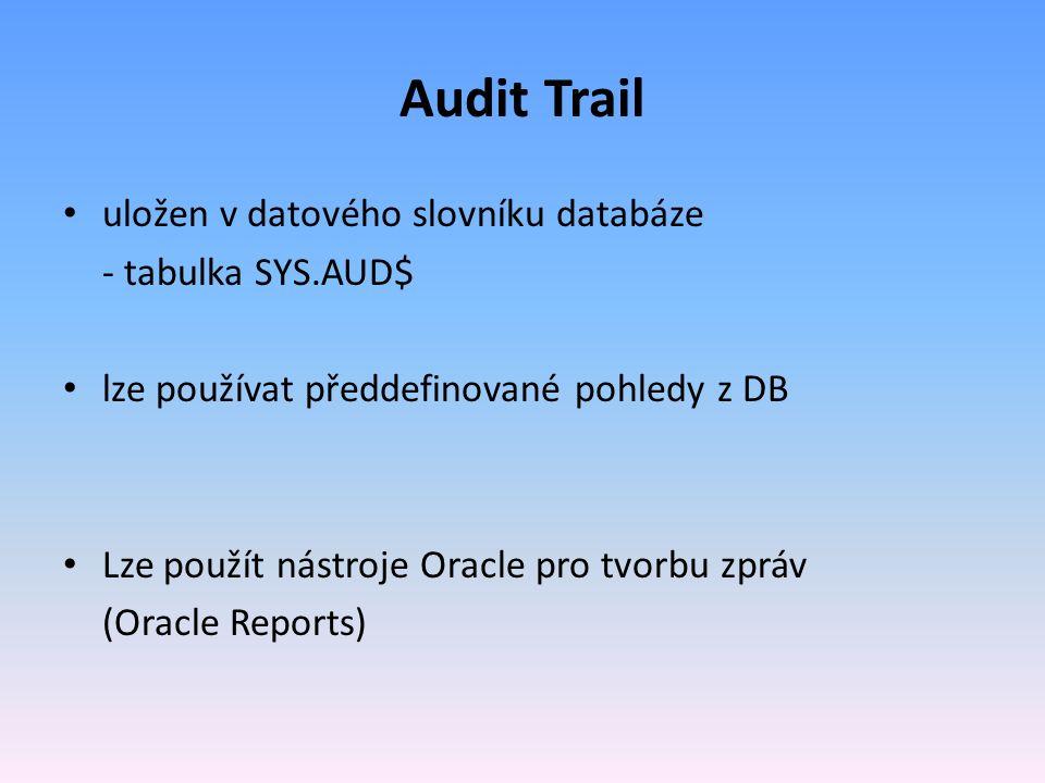 Audit Trail uložen v datového slovníku databáze - tabulka SYS.AUD$