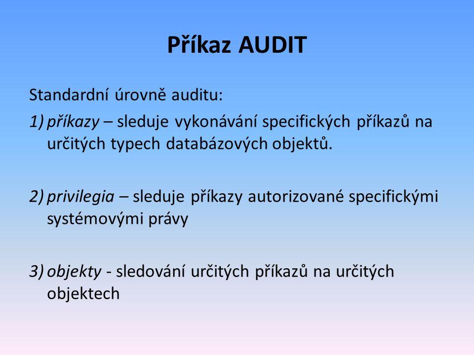 Příkaz AUDIT Standardní úrovně auditu: