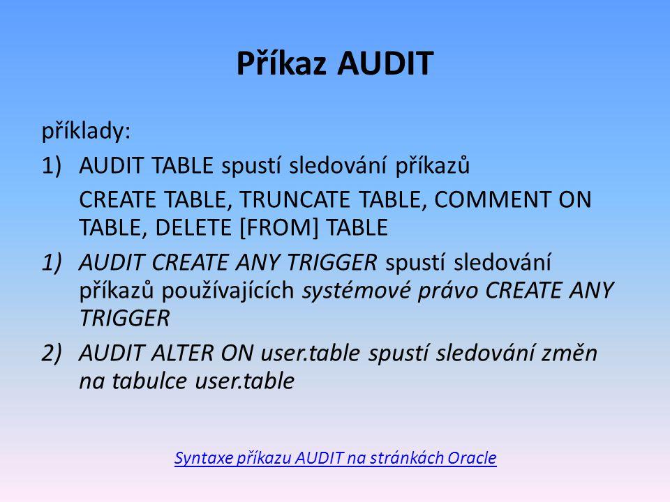 Syntaxe příkazu AUDIT na stránkách Oracle
