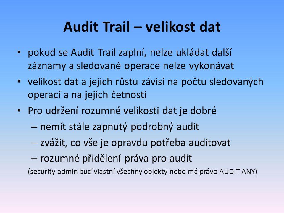 Audit Trail – velikost dat