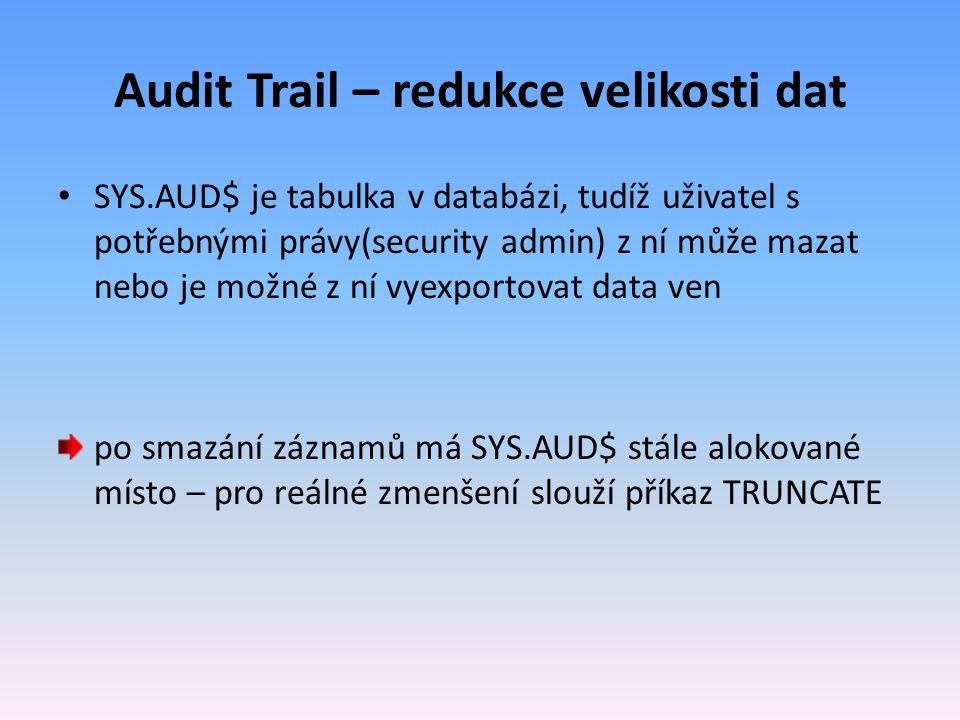 Audit Trail – redukce velikosti dat