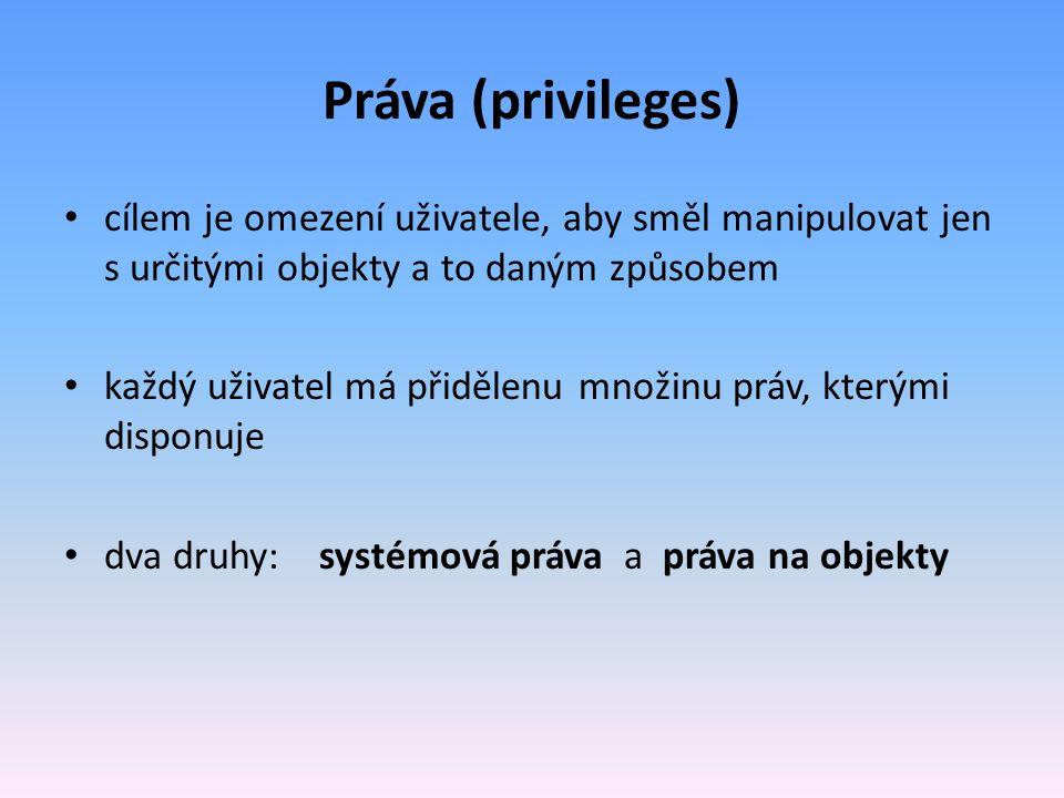 Práva (privileges) cílem je omezení uživatele, aby směl manipulovat jen s určitými objekty a to daným způsobem.
