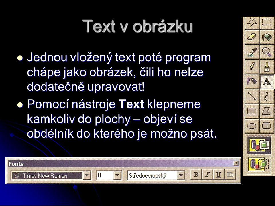 Text v obrázku Jednou vložený text poté program chápe jako obrázek, čili ho nelze dodatečně upravovat!