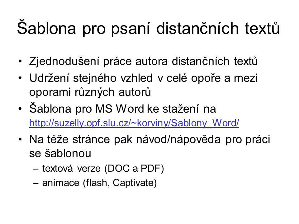 Šablona pro psaní distančních textů