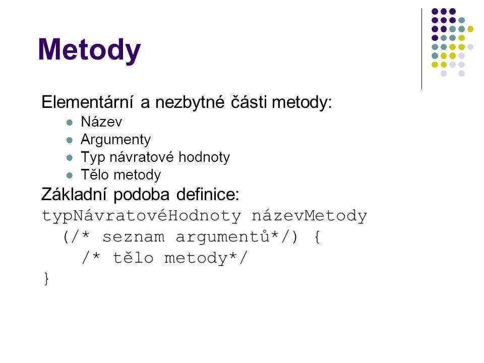 Metody Elementární a nezbytné části metody: Základní podoba definice: