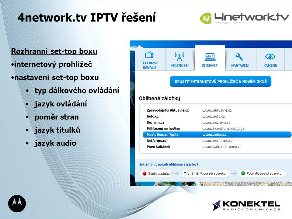 4network.tv IPTV řešení Rozhranní set-top boxu internetový prohlížeč