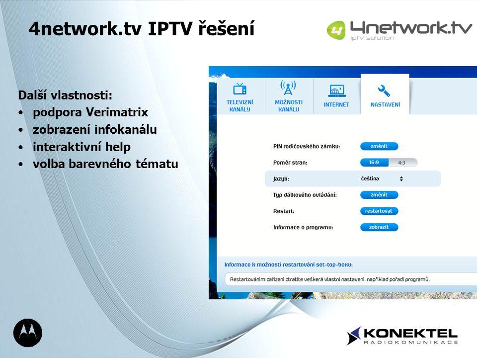 4network.tv IPTV řešení Další vlastnosti: podpora Verimatrix