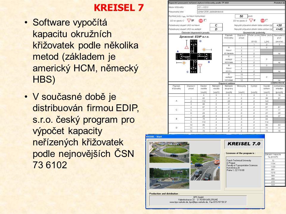 KREISEL 7 Software vypočítá kapacitu okružních křižovatek podle několika metod (základem je americký HCM, německý HBS)